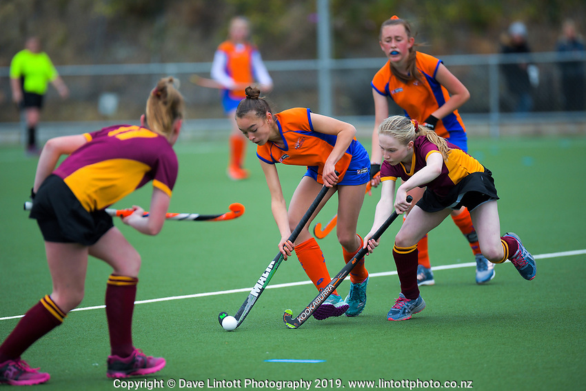 Action from the 2019 Collier Trophy Under-13 Girls' Hockey Tournament match between Invercargill and Tauranga at National Hockey Stadium in Wellington, New Zealand on Friday, 9 October 2019. Photo: Dave Lintott / lintottphoto.co.nz