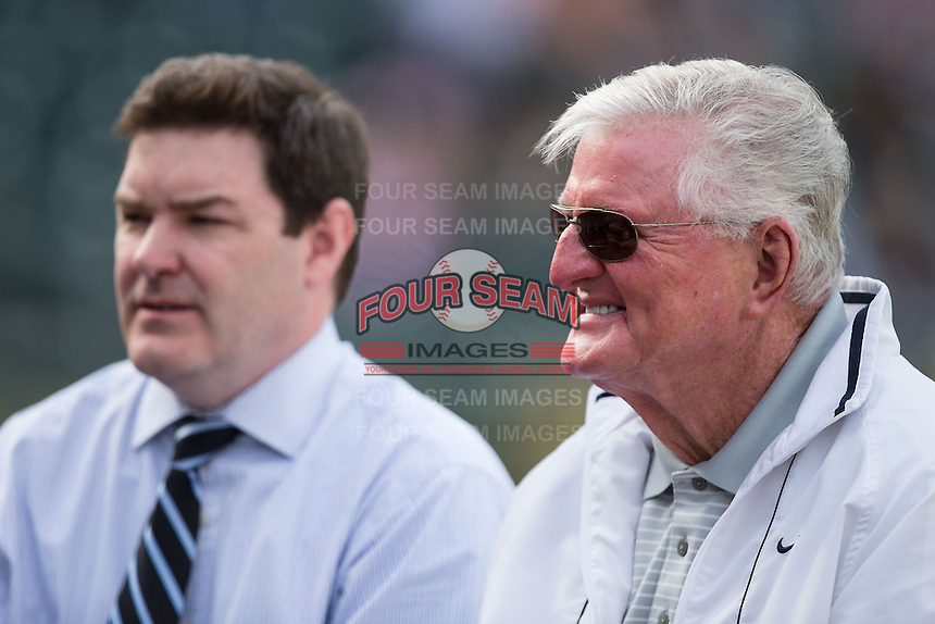 """Legendary Chicago White Sox television broadcaster Ken """"Hawk"""" Harrelson was on hand for the exhibition game against the Charlotte Knights at BB&T Ballpark on April 3, 2015 in Charlotte, North Carolina.  (Brian Westerholt/Four Seam Images)"""