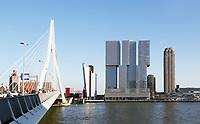 Nederland  Rotterdam -  2017.  De Erasmusbrug en de Wilhelminapier.    Foto Berlinda van Dam / Hollandse Hoogte