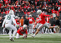 Ohio State Buckeyes place kicker Sean Nuernberger (96) kicks a 27-yard field goal during the third quarter of the NCAA football game against the Michigan State Spartans at Ohio Stadium in Columbus on Nov. 11, 2017. [Adam Cairns/Dispatch]
