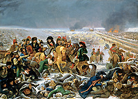 Antoine-Jean Gros, French, 1771-1835; Napoleon on the Battlefield of Eylau; 1807;oil on canvas;H: 41 1/4  in. (104.9 cm); W: 57 1/8 in. (145.1 cm)<br /> <br /> <br /> The commanding figure of Napoleon Bonaparte  (1769–1821) surveys the carnage after the battle between French troops and combined Russian and Prussian forces at Eylau (now in Poland). Fighting in snow and bitter cold on February 7 and 8, 1807, the armies were deadlocked until the Russians retreated during the night, leaving the French victors by default. The staggering number of dead and wounded on both sides—some 50,000—made this one of the most devastating battles of the Napoleonic Wars. <br /> <br /> To quell criticism about the number of casualties at Eylau and to maintain Napoleon's image as a forceful but compassionate leader, the French government sponsored a competition for the best painting depicting Napoleon's visit to the battlefield. Antoine-Jean Gros entered this canvas and won the commission for the immense 17 x 25 ½ foot version in the Musée du Louvre, Paris.<br /> <br /> Downplaying French casualties, Gros showed mostly Russian dead and wounded being tended by French medical officers. Though it fulfilled its role as state propaganda, the painting also presented a horrifically realistic depiction of the bloody costs of war.;Toledo Museum of Art; 1988.54;