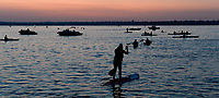 Rescue kayakers hit Lake Monona at dawn before the 2017 IRONMAN Wisconsin on Sunday, September 10 in Madison