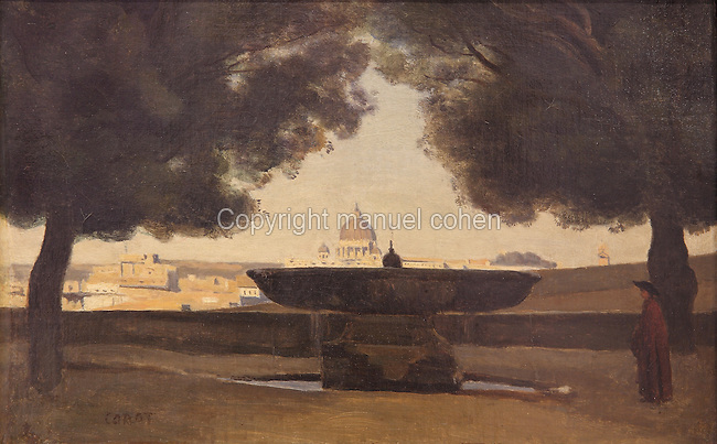 La Vasque de líAcademie de France, or the Fountain at the French Academy in the Medici Villa, Rome, Italy, c. 1826-27, oil on canvas, by Jean-Baptiste Camille Corot, 1796-1875, French artist, in Le MUDO, or the Musee de l'Oise, Beauvais, Picardy, France. Picture by Manuel Cohen