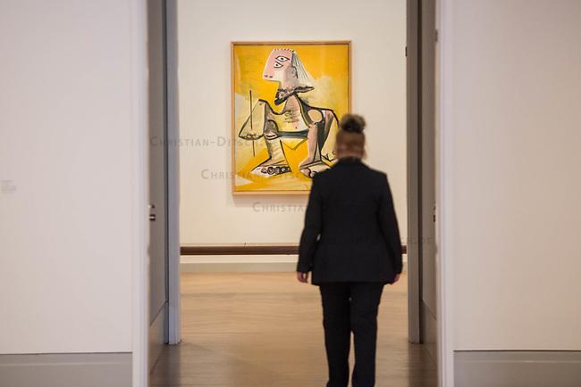 """Die Ausstellung """"Picasso. Das spaete Werk"""" wird vom 9. Maerz bis 16. Juni 2019 im Potsdamer Museum Barberini gezeigt.  Alle Leihgaben, Gemaelde, Keramiken, Skulpturen und Graphiken von Pablo Picasso (1881–1973), stammen aus der Sammlung Jacqueline Picasso (1927–1986).<br /> In der von Gastkurator Bernardo Laniado-Romero getroffenen Auswahl befinden sich zahlreiche Werke, die erstmalig in Deutschland gezeigt werden sowie einige, die zum ersten Mal in einem Museum praesentiert werden.<br /> Im Bild: """"Mann"""", Oel auf Leinwand, von 1971.<br /> 7.3.2019, Potsdam<br /> Copyright: Christian-Ditsch.de<br /> [Inhaltsveraendernde Manipulation des Fotos nur nach ausdruecklicher Genehmigung des Fotografen. Vereinbarungen ueber Abtretung von Persoenlichkeitsrechten/Model Release der abgebildeten Person/Personen liegen nicht vor. NO MODEL RELEASE! Nur fuer Redaktionelle Zwecke. Don't publish without copyright Christian-Ditsch.de, Veroeffentlichung nur mit Fotografennennung, sowie gegen Honorar, MwSt. und Beleg. Konto: I N G - D i B a, IBAN DE58500105175400192269, BIC INGDDEFFXXX, Kontakt: post@christian-ditsch.de<br /> Bei der Bearbeitung der Dateiinformationen darf die Urheberkennzeichnung in den EXIF- und  IPTC-Daten nicht entfernt werden, diese sind in digitalen Medien nach §95c UrhG rechtlich geschuetzt. Der Urhebervermerk wird gemaess §13 UrhG verlangt.]"""