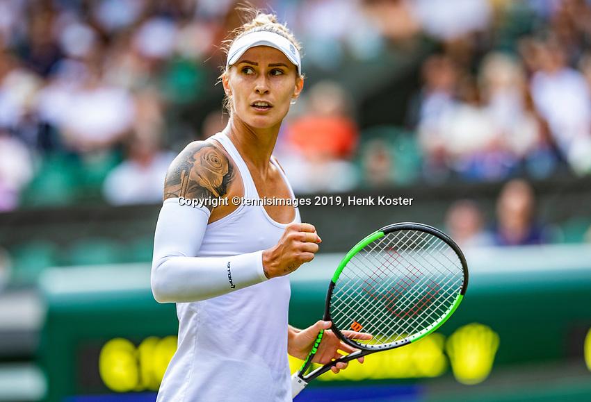 London, England, 5 July, 2019, Tennis,  Wimbledon, Womans single: Polona Hercog (SLO) tatoo<br /> Photo: Henk Koster/tennisimages.com