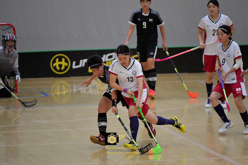 Japan's Rei Goto and Thailand's Thanaporn Tongkham in action during the World Floorball Championships 2017 Qualification for Asia Oceania Region - Japan v Thailand at ASB Sports Centre , Wellington, New Zealand on Saturday 4 February 2017.<br /> Photo by Masanori Udagawa<br /> www.photowellington.photoshelter.com.