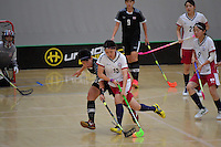 Japan&rsquo;s Rei Goto and Thailand&rsquo;s Thanaporn Tongkham in action during the World Floorball Championships 2017 Qualification for Asia Oceania Region - Japan v Thailand at ASB Sports Centre , Wellington, New Zealand on Saturday 4 February 2017.<br /> Photo by Masanori Udagawa<br /> www.photowellington.photoshelter.com.