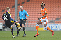 Blackpool's Armand Gnanduillet vies for possession with Oxford United's Mark Sykes<br /> <br /> Photographer Kevin Barnes/CameraSport<br /> <br /> The EFL Sky Bet League One - Blackpool v Oxford United - Saturday 23rd February 2019 - Bloomfield Road - Blackpool<br /> <br /> World Copyright © 2019 CameraSport. All rights reserved. 43 Linden Ave. Countesthorpe. Leicester. England. LE8 5PG - Tel: +44 (0) 116 277 4147 - admin@camerasport.com - www.camerasport.com
