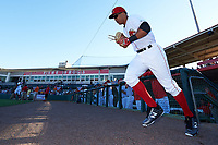 Florida Fire Frogs first baseman Carlos Castro (30) takes the field for the teams inaugural game against the Daytona Tortugas on April 6, 2017 at Osceola County Stadium in Kissimmee, Florida.  Daytona defeated Florida 3-1.  (Mike Janes/Four Seam Images)