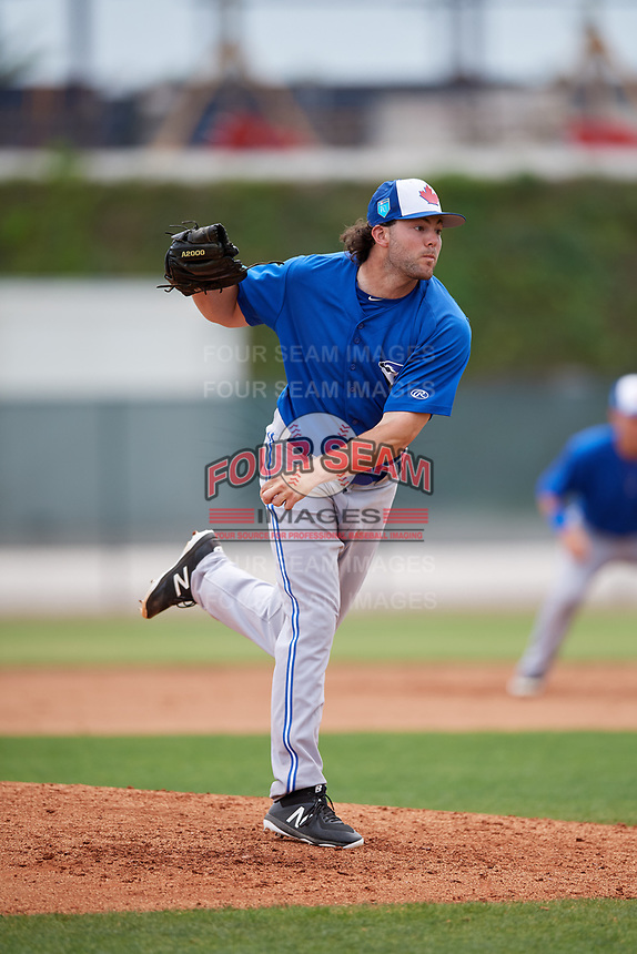 Toronto Blue Jays pitcher Jake Fishman (62) during a Minor League Spring Training game against the Philadelphia Phillies on March 30, 2018 at Carpenter Complex in Clearwater, Florida.  (Mike Janes/Four Seam Images)