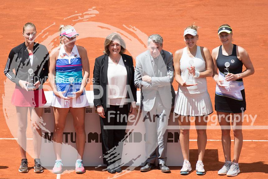 Manolo Santana after match.<br /> Katerina Makarova/ Elena Vesnina win the final against Timea Babos/ Kristina Mladenovic during theMutua Madrid Open tennis match, Master 1000 at Caja Magica in Madrid on May 12, 2018.