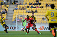 Andrew Durante and Bruce Djite during the A League - Wellington Phoenix v Adelaide United, Wellington, New Zealand on Sunday 30 March 2014. <br /> Photo by Masanori Udagawa. <br /> www.photowellington.photoshelter.com.