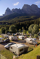 Dolomiti, Voels am Schlern, South Tyrol, June 2007. Camping Seiser Alm. Seiser Alm in the Dolomiti is the largest Alpine pasture in the alps.  South Tyrol used to be part of Austria until it became part of Italy after WWI. Photo by Frits Meyst/Adenture4ever.com