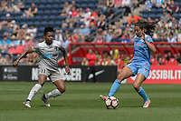 Bridgeview, IL - Saturday May 27, 2017: Taylor Smith, Christen Press during a regular season National Women's Soccer League (NWSL) match between the Chicago Red Stars and the North Carolina Courage at Toyota Park. The Red Stars won 3-2.