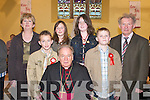 Children from Ballyfinnane National School who received their Confirmation from Bishop.Bill Murphy in St Gobnaits Church, Keel, last Wednesday, with their Principal Cieran.Kelleher and teacher Eileen Daly.