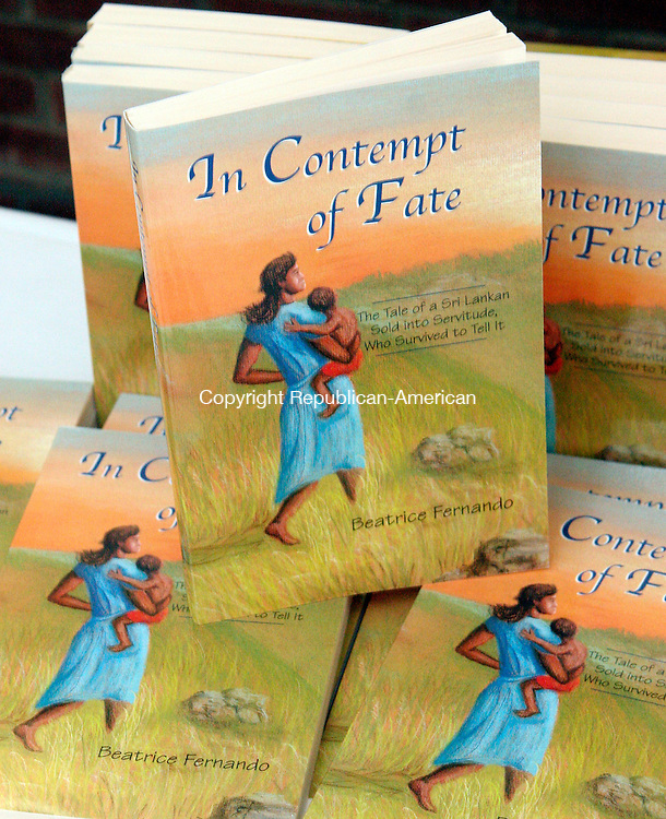 """HAMDEN, CT-10October 2006-101006TK10- Beatrice Fernado's autobiography, """"In Contempt of Fate,"""" chronicles her experience as a slave in Lebanon and her dramatic escape slavery. Tom Kabelka Republican-American (Beatrice Fernando)"""