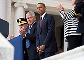 """United States President Barack Obama is applauded by U.S. Secretary of Defense Charles """"Chuck"""" Hagel and General Martin E. Dempsey, Chairman of the Joint Chiefs of Staff, after speaking during Memorial Day activities at Arlington National Cemetery in Washington on Monday, May 27, 2013. .Credit: Joshua Roberts / Pool via CNP"""