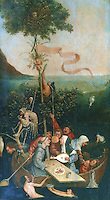 Paintings: Jerome  Bosch (1450-1516)  La nef des fous or Ship of Fools.  Flemish painter.  Originally part of a triptych.  Louvre, Paris.  Reference only.