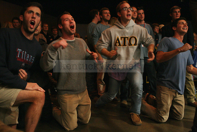 Alpha Tau Omegas cheer for their fraternity brother at The Main Event at the Lexington Convention Center in Lexington, Ky., on Thursday, November 7, 2013. Photo by Tessa Lighty | Staff