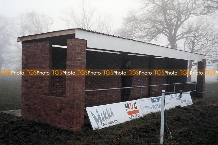 Covered area at Caddington FC, Caddington Recreation Club, Manor Road, Caddington, Luton, Bedfordshire, pictured on 1st February 1992