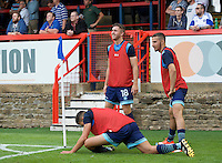 Wycombe Wanderers substitutes warming up during the Friendly match between Aldershot Town and Wycombe Wanderers at the EBB Stadium, Aldershot, England on 26 July 2016. Photo by Alan  Stanford.