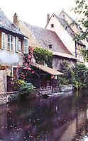 Colmar: Canal view, rain.