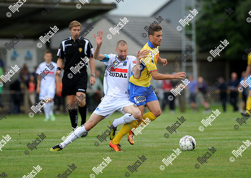 2013-07-03 / Voetbal / seizoen 2013-2014 / Westerlo - Waasland-Beveren / Kevin Geudens (l. Westerlo) met Christian Santos<br /><br />Foto: Mpics.be