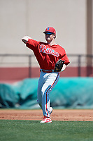 Philadelphia Phillies Cole Stobbe (7) during a Minor League Spring Training game against the Pittsburgh Pirates on March 23, 2018 at the Carpenter Complex in Clearwater, Florida.  (Mike Janes/Four Seam Images)