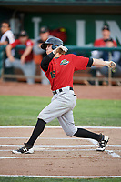 Travis Moniot (16) of the Great Falls Voyagers bats against the Ogden Raptors at Lindquist Field on August 22, 2018 in Ogden, Utah. Great Falls defeated Ogden 3-1. (Stephen Smith/Four Seam Images)