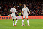 England's Raheem Sterling (L) and Harry Winks (R) during UEFA Nations League 2019 match between Spain and England at Benito Villamarin stadium in Sevilla, Spain. October 15, 2018. (ALTERPHOTOS/A. Perez Meca)