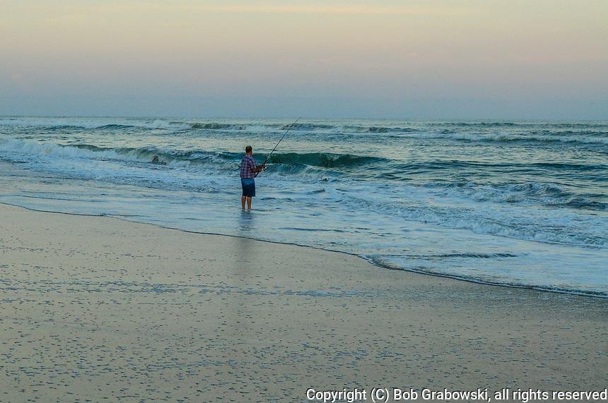 Fisherman At The Outer Banks At Sunset, Emerald Isle, North Carolina