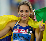 31.07.2010, Olympic Stadium, Barcelona, ESP, European Athletics Championships Barcelona 2010, im Bild Winner Ukraine's Olha Saladuha celebrates after the women's triple jump final, EXPA Pictures © 2010, PhotoCredit: EXPA/ Sportida/ Vid Ponikvar +++++ ATTENTION - OUT OF SLOVENIA +++++