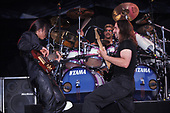WANTAGH NY - AUGUST 09: Mike Portnoy, John Petrucci and John Myung of Dream Theater perform at The Jones Beach Amphitheater on August 9, 1998 in Wantagh, New York. Photo by Larry Marano © 1998