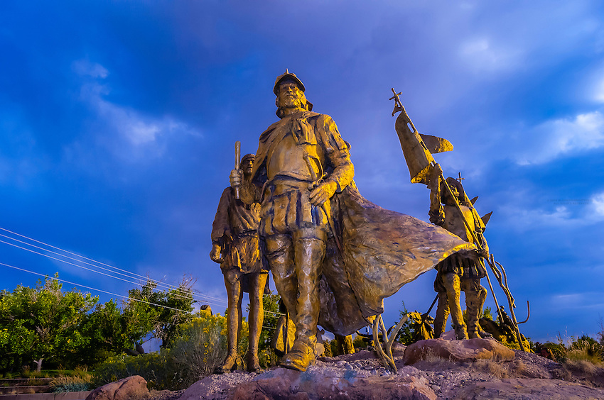 """The """"Cuarto Centenario"""" sculpture, Albuquerque Museum, Albuquerque, New Mexico USA. Four hundred years ago, in April of 1598, Spanish explorer Juan de Oñate and 500 colonists from Mexico crossed the Rio Grande to claim the new land for the King of Spain."""