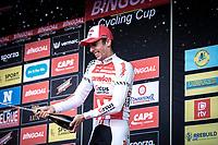 champagne shower podium with race winner Dries de Bondt (BEL/Corendon Circus)<br /> <br /> <br /> 23th Memorial Rik Van Steenbergen 2019<br /> One Day Race: Beerse > Arendonk 208km (UCI 1.1)<br /> ©kramon