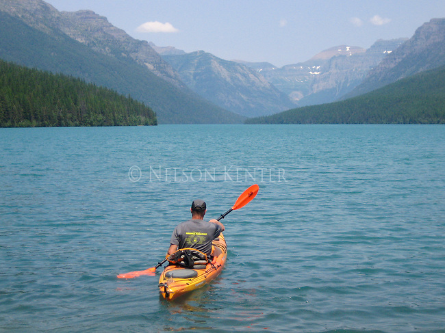 Kayak on bowman lake in glacier national park in Montana