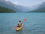 Kayak on bowman lake in glacier national park in Montana