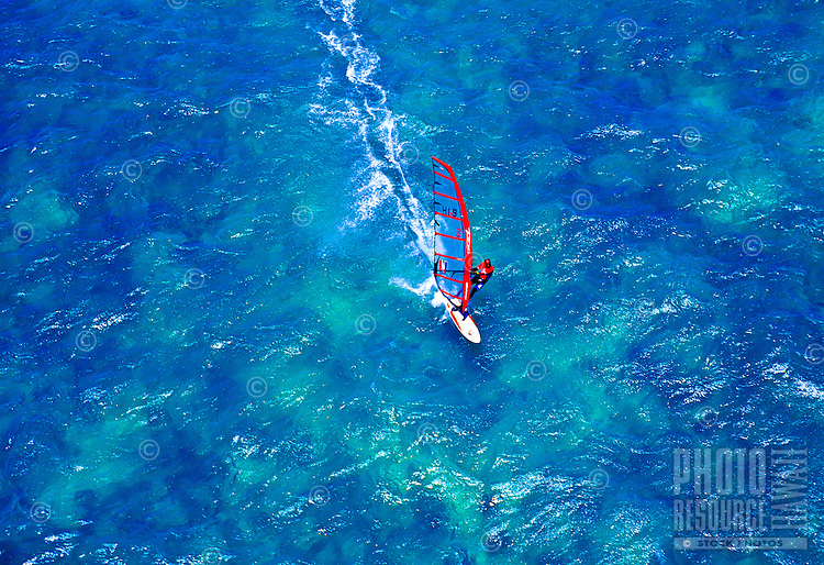Windsurfer off Kanaha beach park, during the Windsurfing state campionship, Haiku, Island of Maui