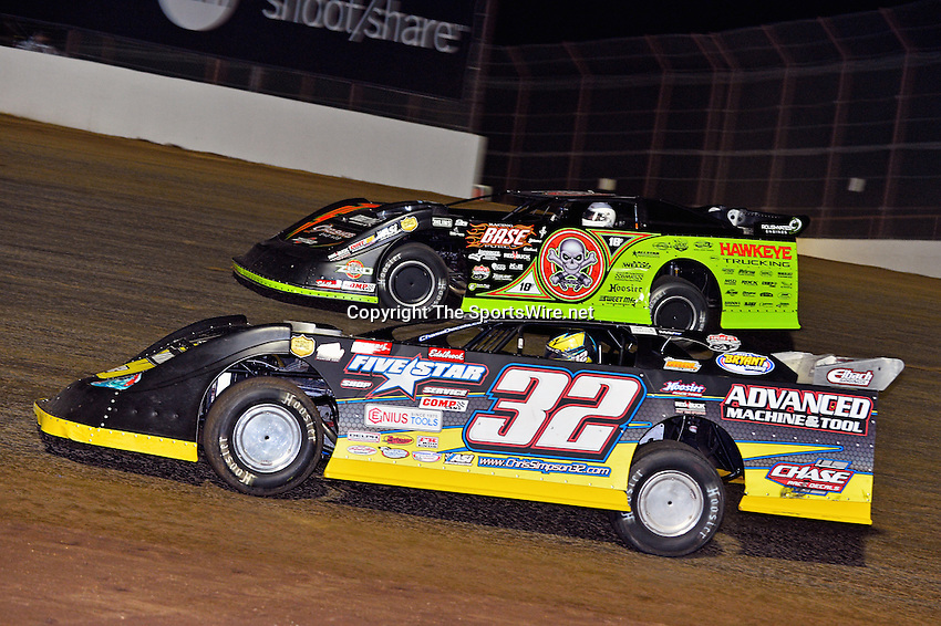 May 25, 2013; 11:02:33 PM; Wheatland, Mo., USA; The  Lucas Oil Late Model Dirt Series running the 21st Annual Lucas Oil Show-Me 100 Presented by ProtectTheHarvest.com.  Mandatory Credit: (thesportswire.net)