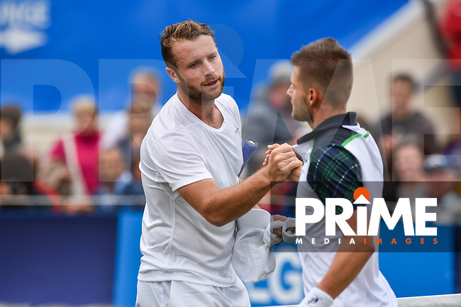 Luke BAMBRIDGE Celebrates winning the match during the Aegon International Eastbourne tennis tournament match between Luke BAMBRIDGE (GBR) v Marek JALOVIEC (CZE) at Devonshire Park, Eastbourne, England on 24 June 2017. Photo by Edward Thomas/PRiME Media Images.