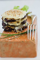 Europe/France/Midi-Pyrénées/81/Tarn/ Lacaune: Burger de Bougnette au boudin noir et tome des Gavachs recette du Relais de Fusiès