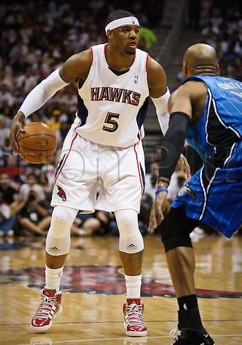08 May 2010: Atlanta's Josh Smith (5) in Eastern Conference Semi-Finals Atlanta Hawks 105-75 loss to the Orlando Magic in Game 3 at Philips Arena in Atlanta, GA.