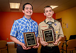 WATERBURY, CT. 07 May 2018-050718BS20 - From left, St, Francis / St.Hedwig students Anthony Barbieri and Luke Really, both of Naugatuck stand together after being recognized and receiving awards during the 15th Annual Excellence in Youth Awards at the Waterbury Youth Services on Monday evening. Bill Shettle Republican-American