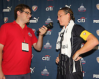 Abby Wambach #20 of the Washington Freedom is interviewed after a WPS match against the Philadelphia Independence on August 4 2010 at the Maryland Soccerplex, in Boyds, Maryland. Freedom won 2-0.