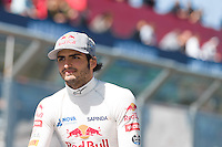 March 15, 2015: Carlos Sainz (ESP) #55 from the Scuderia Toro Rosso team waves to fans during the drivers' parade at the 2015 Australian Formula One Grand Prix at Albert Park, Melbourne, Australia. Photo Sydney Low