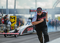 Sep 3, 2018; Clermont, IN, USA; Crew member for NHRA top fuel driver Billy Torrence during the US Nationals at Lucas Oil Raceway. Mandatory Credit: Mark J. Rebilas-USA TODAY Sports