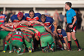 Louis Kapetine, Kalafi Pongi and Jeremiah Fatialofa prepare to pack down in a scrum during the Counties Manukau Premier Club Rugby game between Waiuku and Ardmore Marist, played at Waiuku on Saturday June 4th 2016. Ardmore Marist won 46 - 3 after leading 39 - 3 at Halftime. Photo by Richard Spranger.