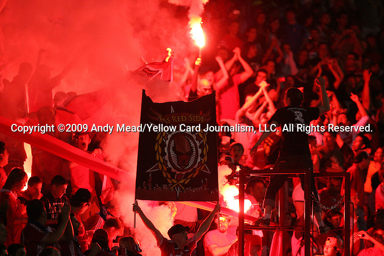05 June 2009: Chicago fans burn flares in the stands. The Houston Dynamo defeated the Chicago Fire 1-0 at Toyota Park in Bridgeview, Illinois in a regular season Major League Soccer game.