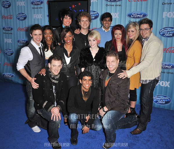 American Idol Final 13 stars Kris Allen, Danny Gokey, Alexis Grace, Allison Iraheta, Adam Lambert, Scott MacIntyre, Jorge Nunez, Lil Rounds, Michael Sarver, Megan Corkrey, Anoop Desai, Matt Giraud & Jasmine Murray at the American Idol Final 13 Party at Area Nightclub, West Hollywood..March 5, 2009  Los Angeles, CA.Picture: Paul Smith / Featureflash