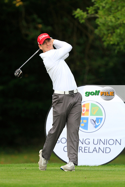 Colin Fairweather (Knock) on the 1st tee during the Final of the AIG Senior Cup at the AIG Cups &amp; Shields National Finals in Carton House on the 19/09/15.<br /> Picture: Thos Caffrey   Golffile
